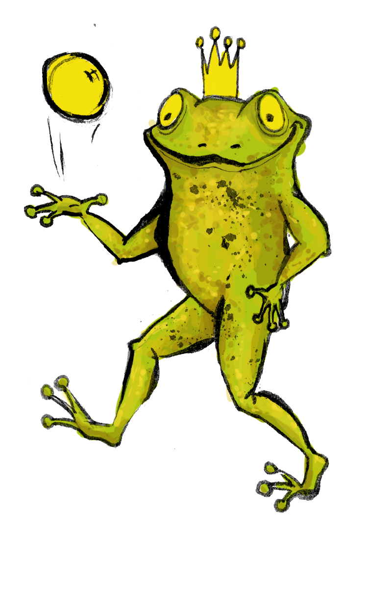 Frogs drawing king. The frog inawonderworld