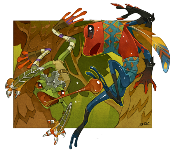Frogs drawing warrior. By ijkelly on deviantart