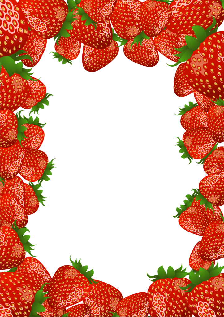 Fruit border png. Transparent frame with strawberries