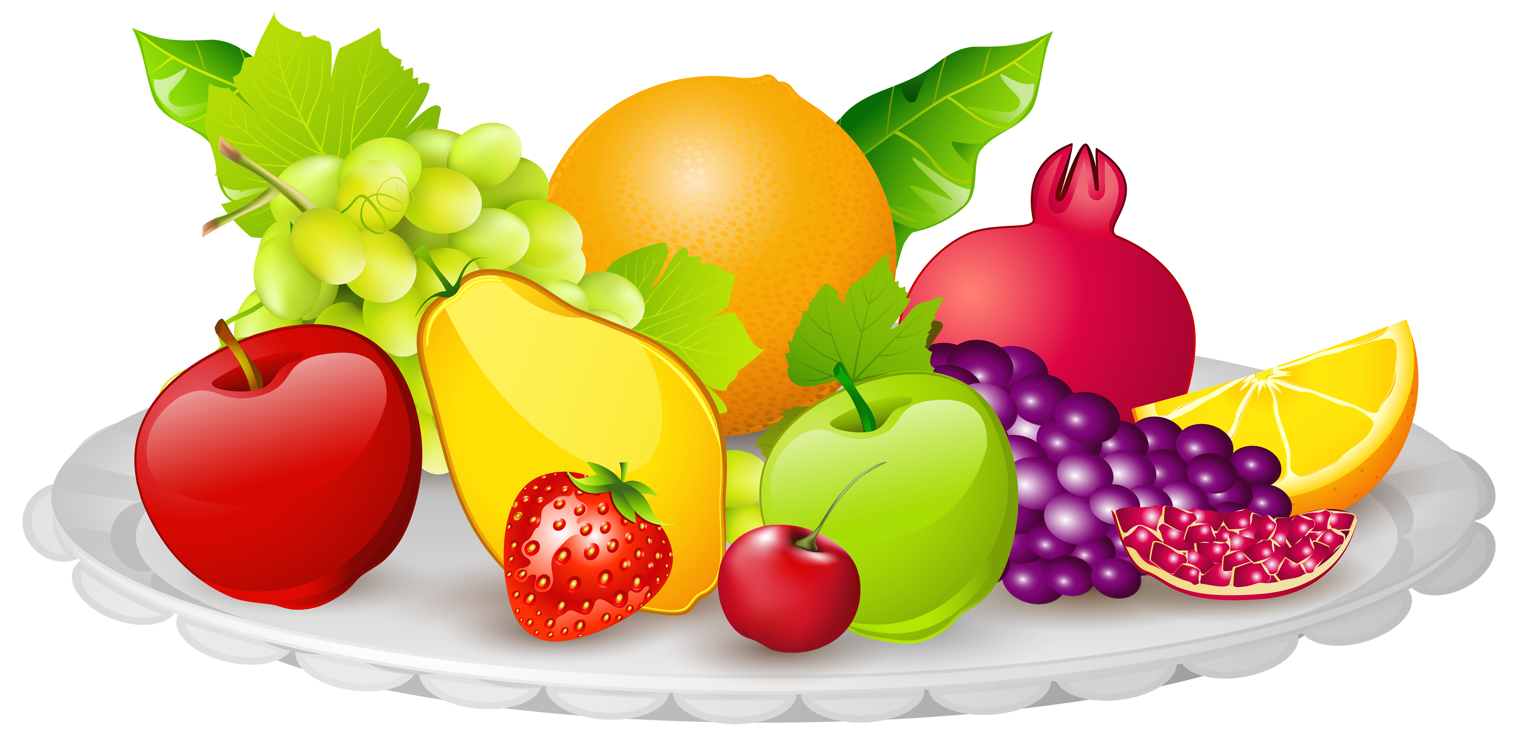 Fruit clip art png. Plate with fruits clipart