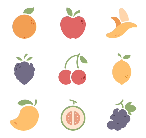 Vector vegetables. Fruit icons free fruits