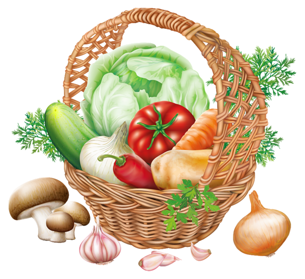 Fruits and vegetables .png. Basket with png clipart