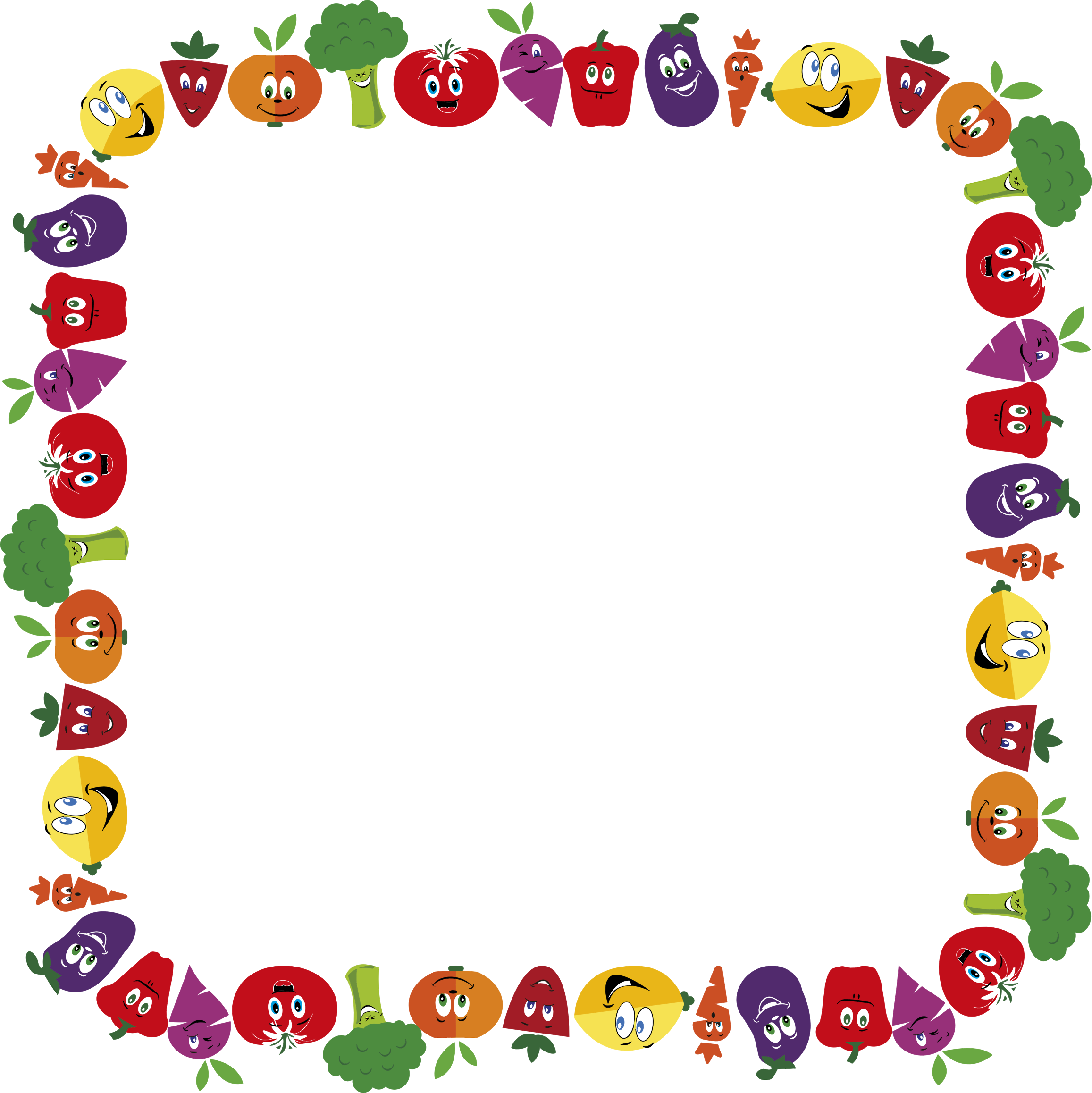 Fruits clipart frame. Anthropomorphic and vegetables big