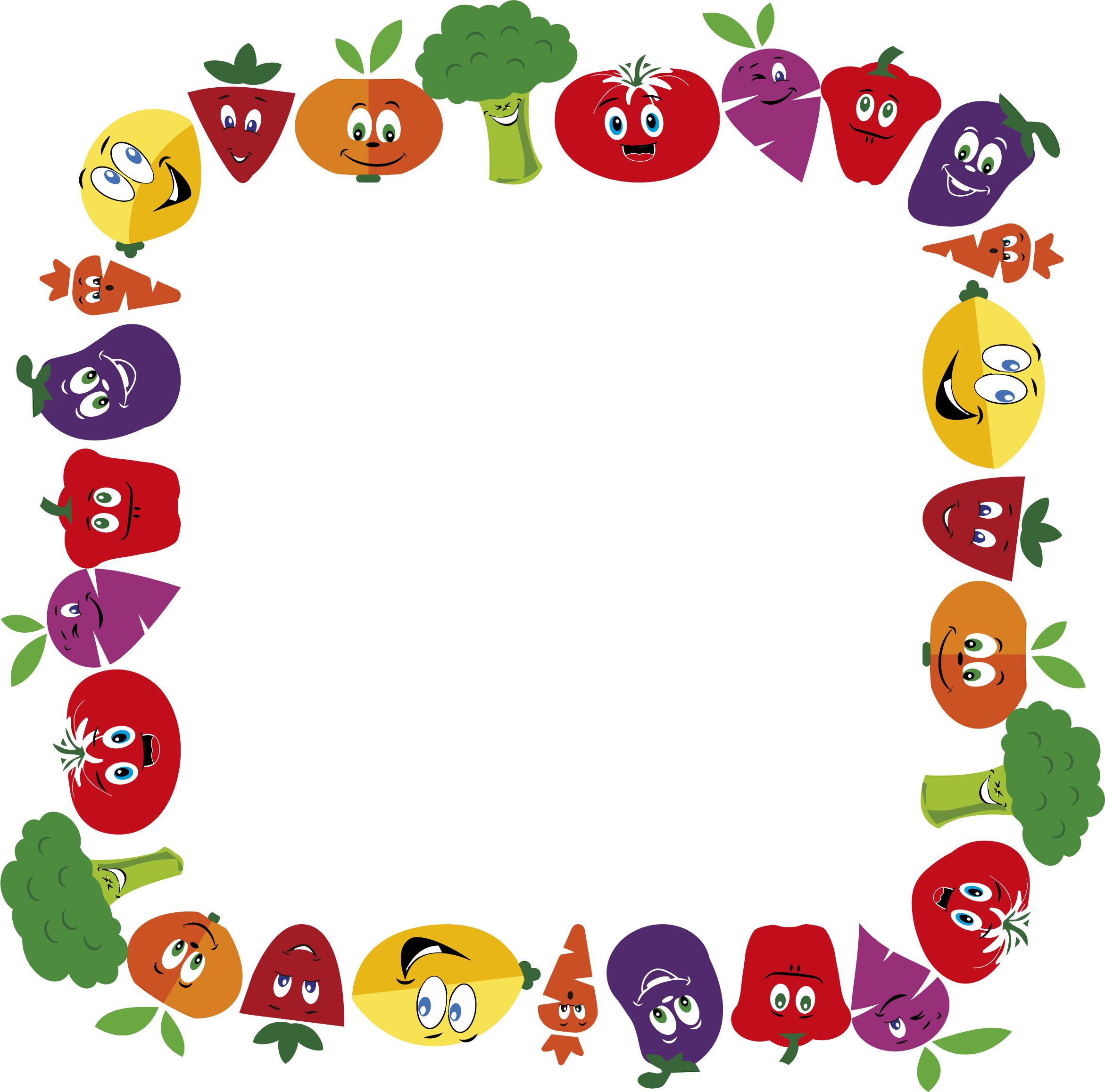 Fruits clipart frame. Anthropomorphic and vegetables large