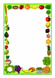 Fruits clipart frame. Vegetables themed a page