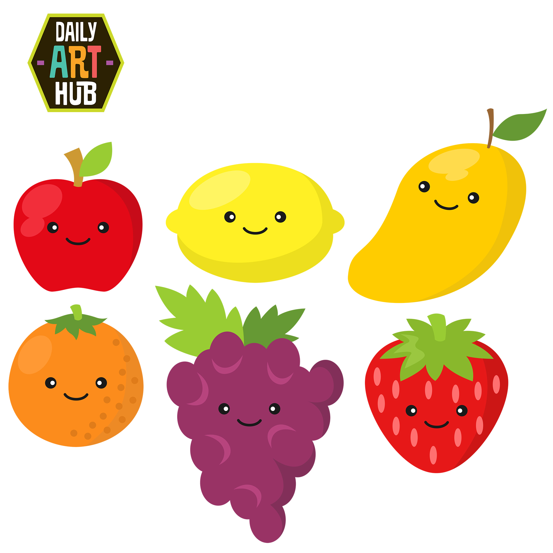 Cute fruit . Fruits clipart graphic black and white