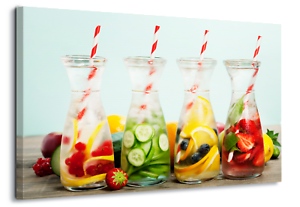 Fruits transparent glass. Water refreshing canvas wall