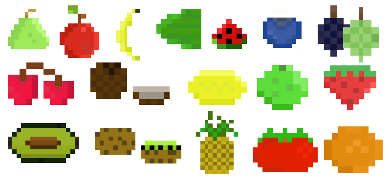 Fruits transparent pixel art. Fruit by megalomaniacaly on