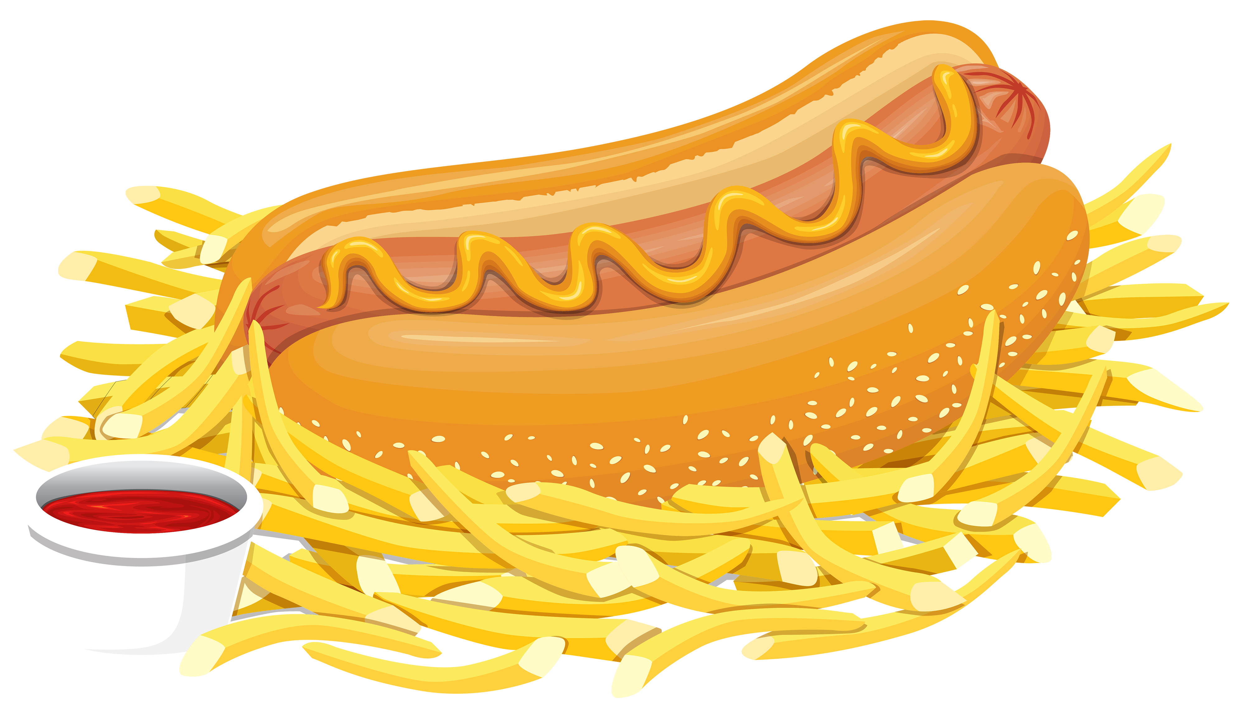Hot dog with ketchup. Chips clipart png picture freeuse library