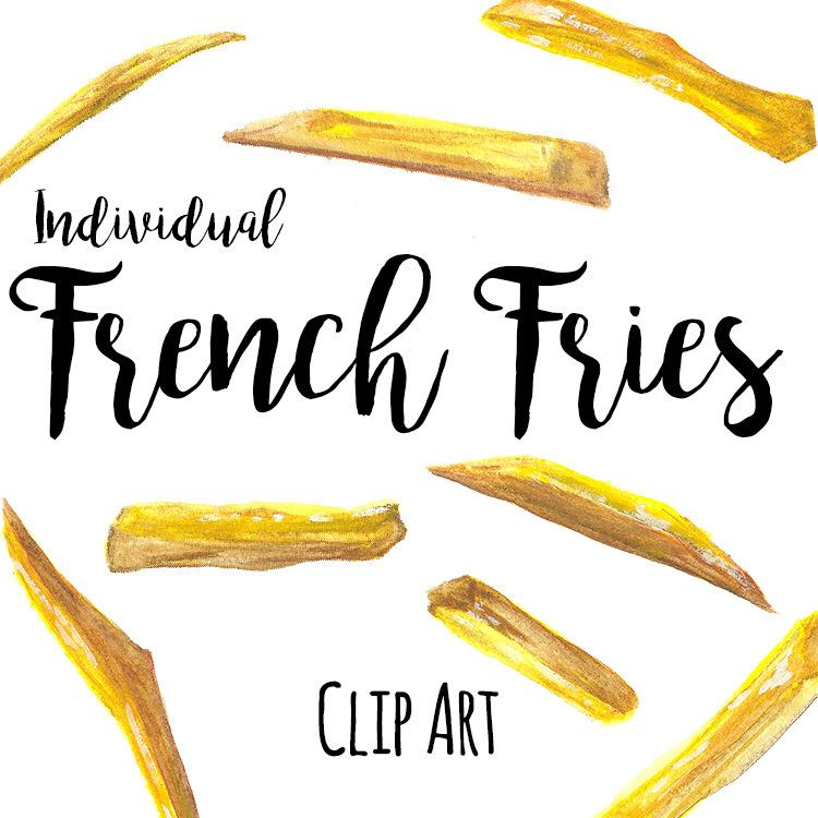 Fry clipart yellow food. Individual french fries clip