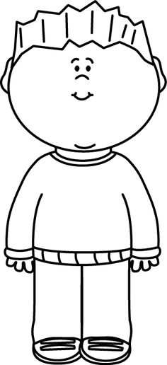 Full clipart black and white. Happy boy clip art