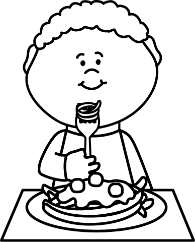Full clipart black and white. Eating