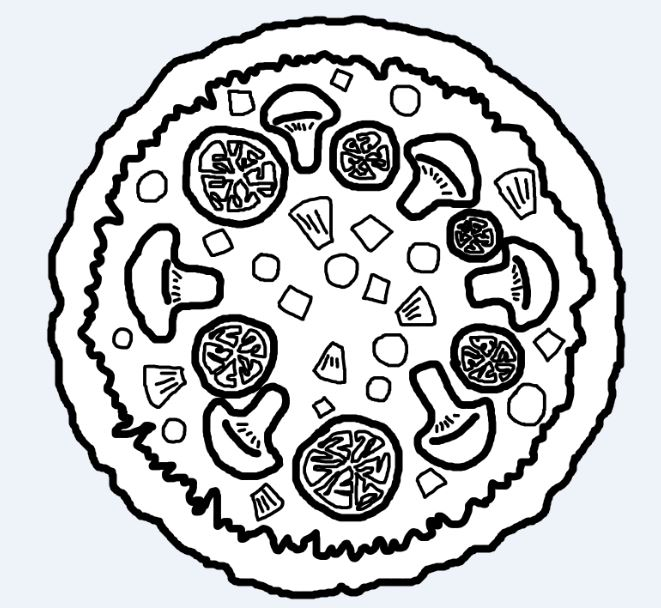 Full clipart black and white. Pizza drawing at getdrawings