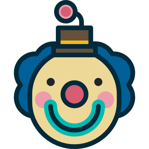 Fun clown png. Funny head interface face