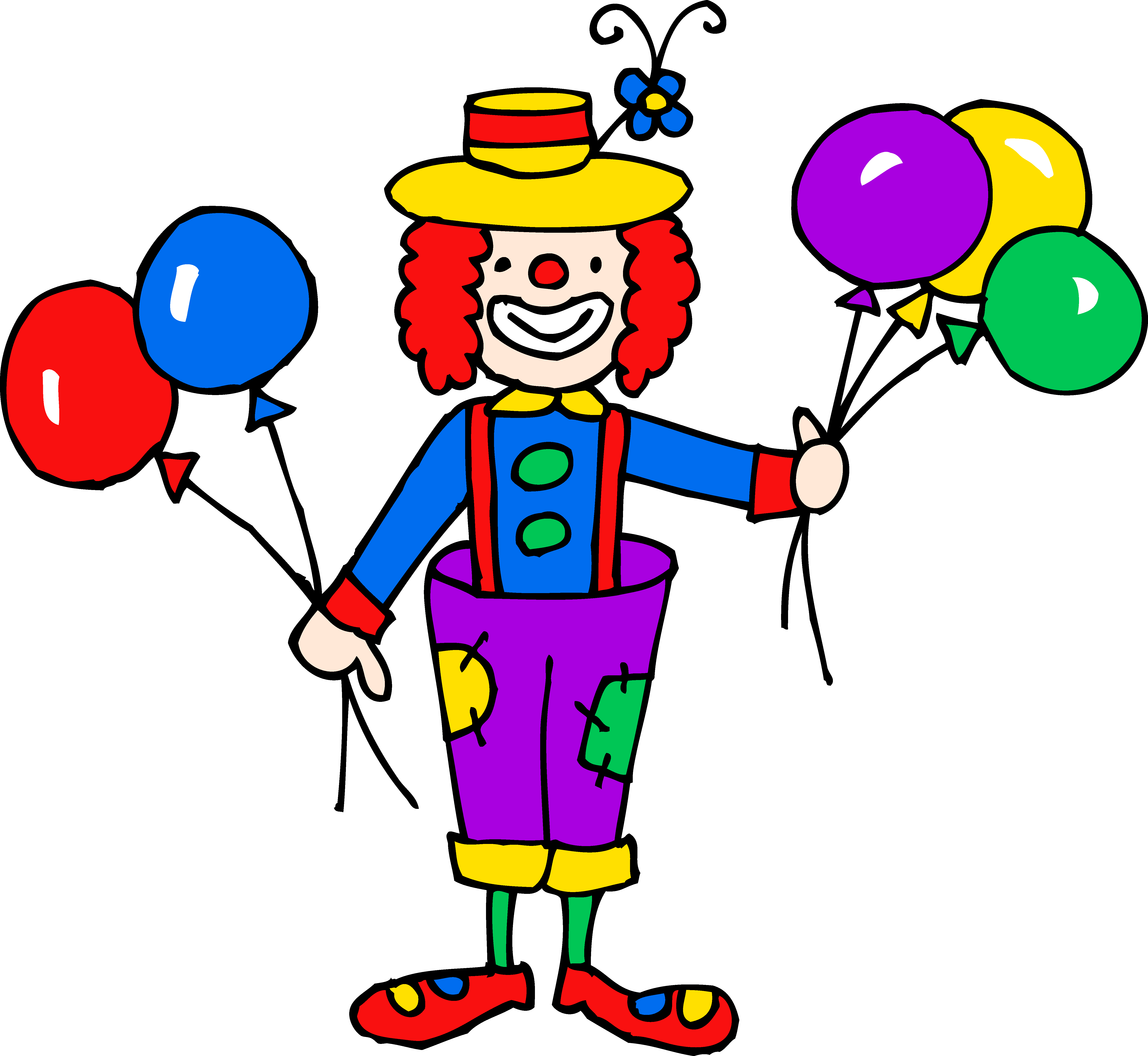 Fun clown png. Cute colorful clipart free