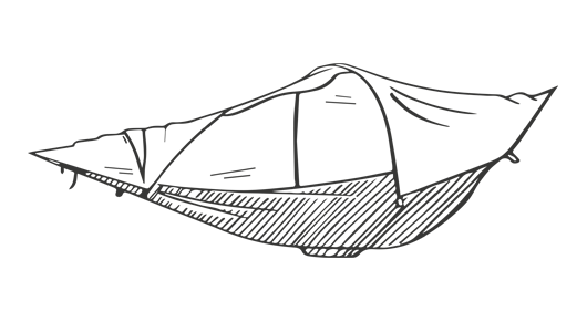 Pier drawing hammock. Flying tent designed for