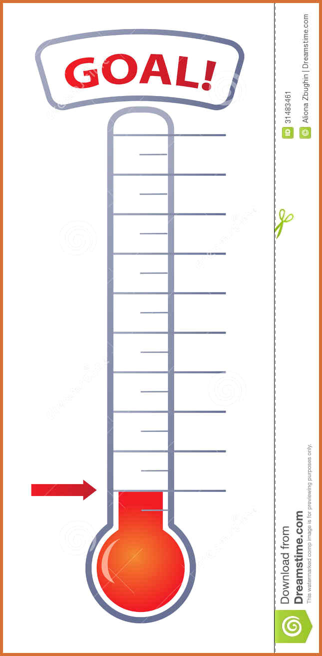 Goal clipart printable. Fundraising thermometer template text