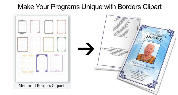Funeral clipart funeral program. Borders frames and microsoft