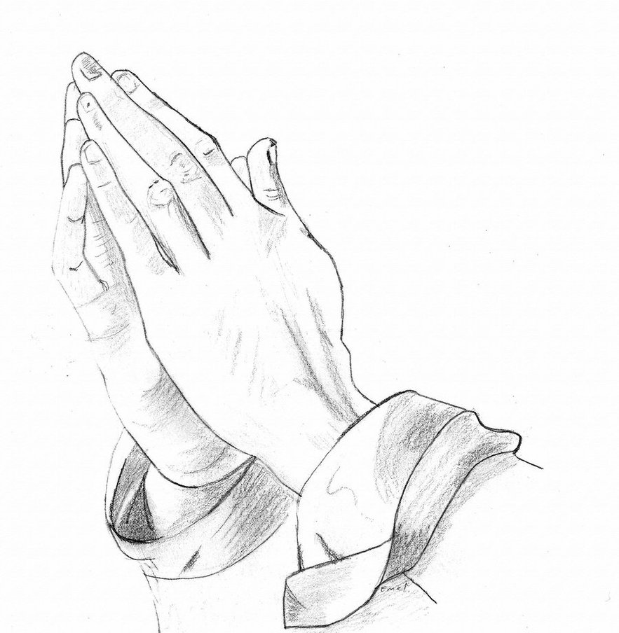 Funeral clipart prayer hand. Hands in drawing at