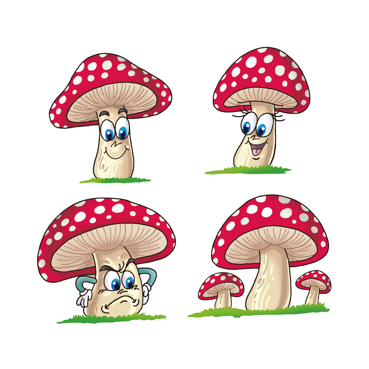 Drawing mushrooms cartoon. Mushroom fungus transprent png