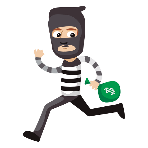 Funny robber profession cartoon. Thief vector bag svg freeuse library