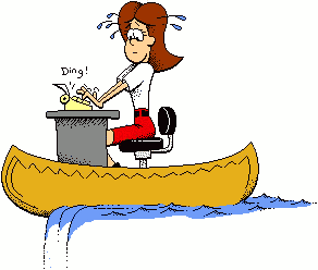 Canoeing office lady funny. Funy clip graphic royalty free
