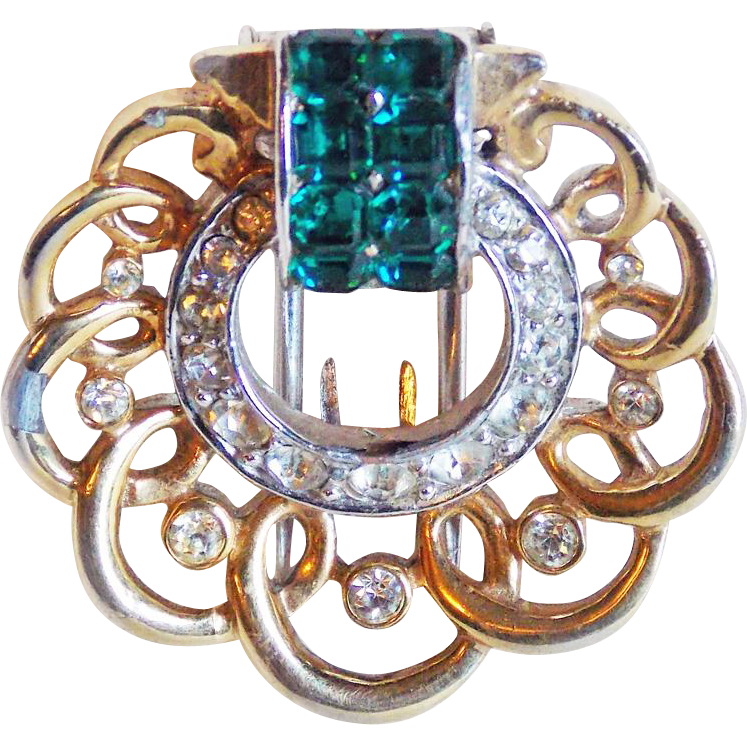 Fur clip boucher. Tiny signed green clear