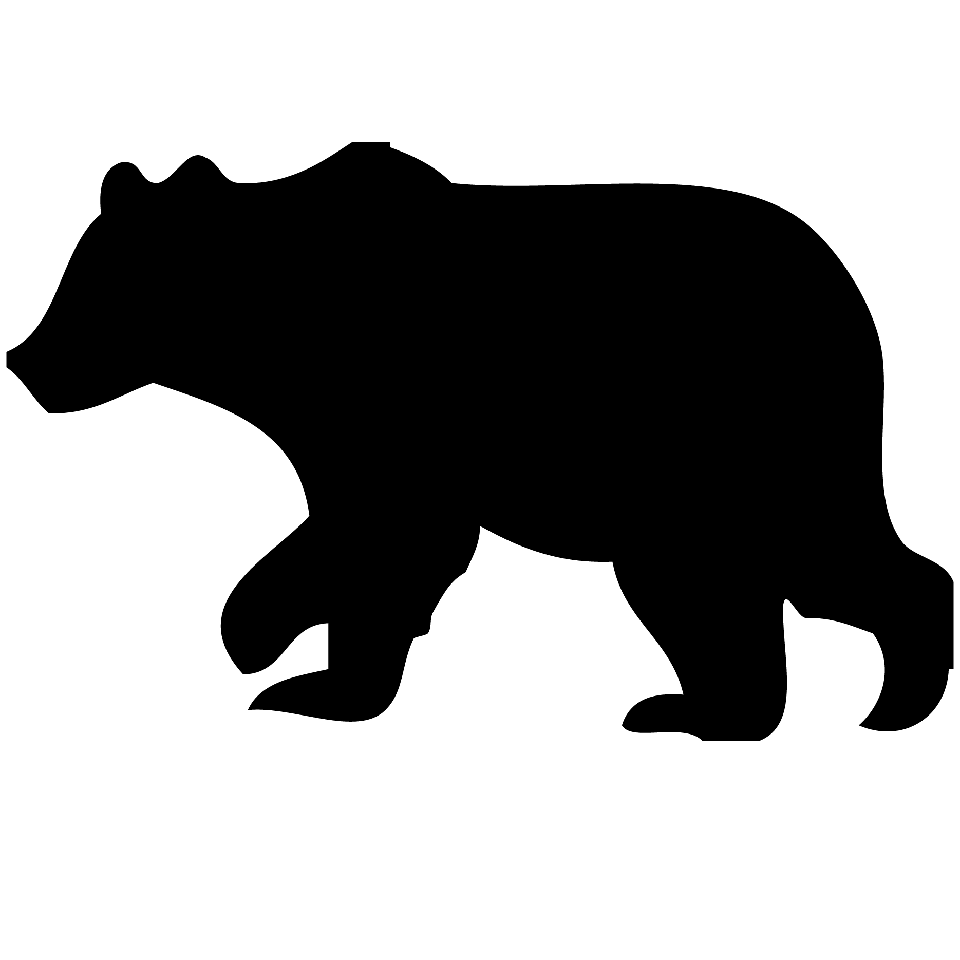 Transparent cali grizzly. Bear cub silhouette at