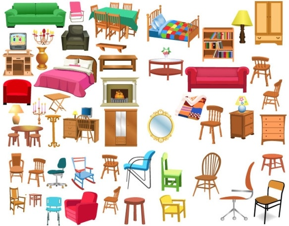 Furniture clipart. Free vector a variety