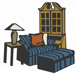 Furniture clipart. Interior design meaning banner royalty free