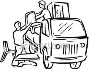 Furniture clipart furniture delivery. Two people unloading a