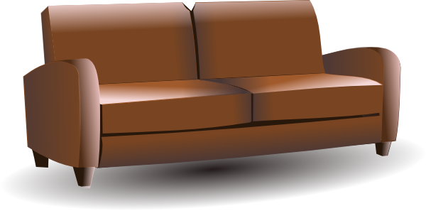 Furniture clipart small sofa. Brown couch clip art