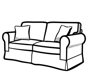 Furniture clipart small sofa. Lineart image png