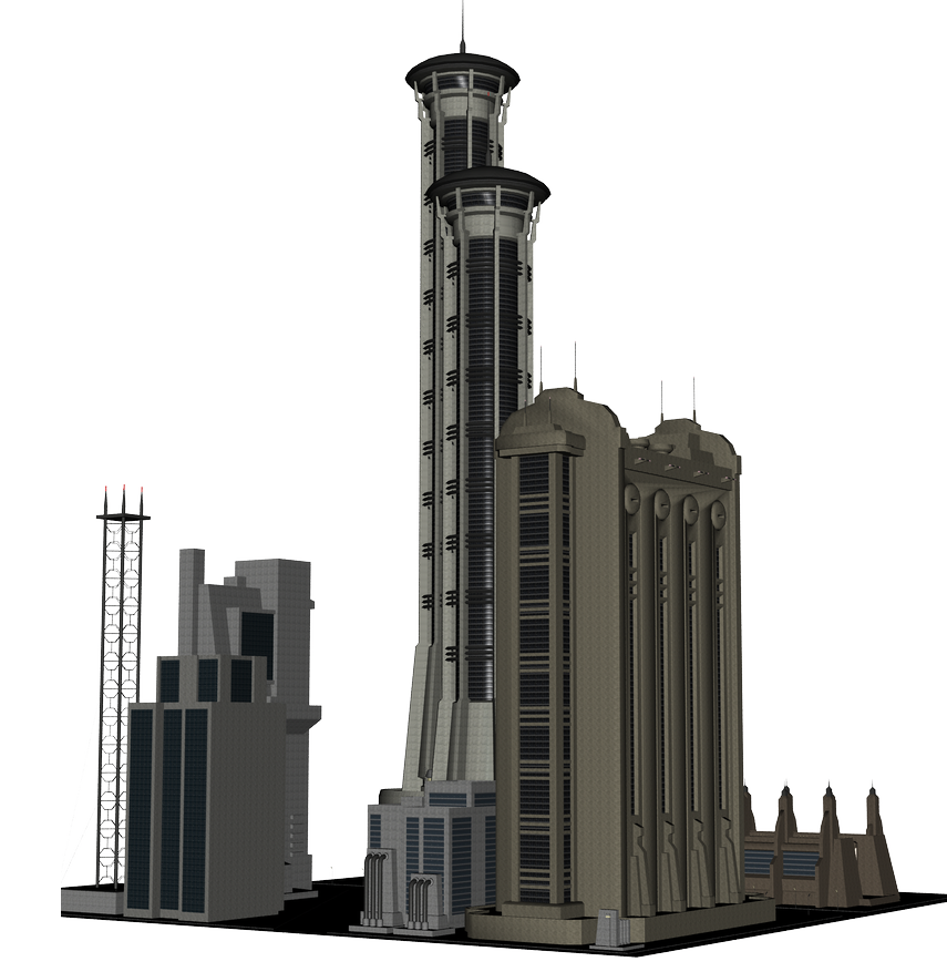 Futuristic building png. Dystopia science fiction space