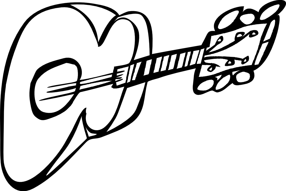 G drawing black and white. Guitar line clipart panda