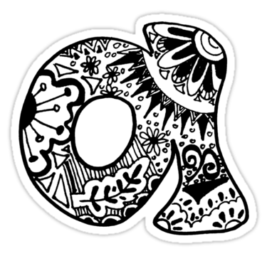 G drawing zentangle. Hipster letter a sticker