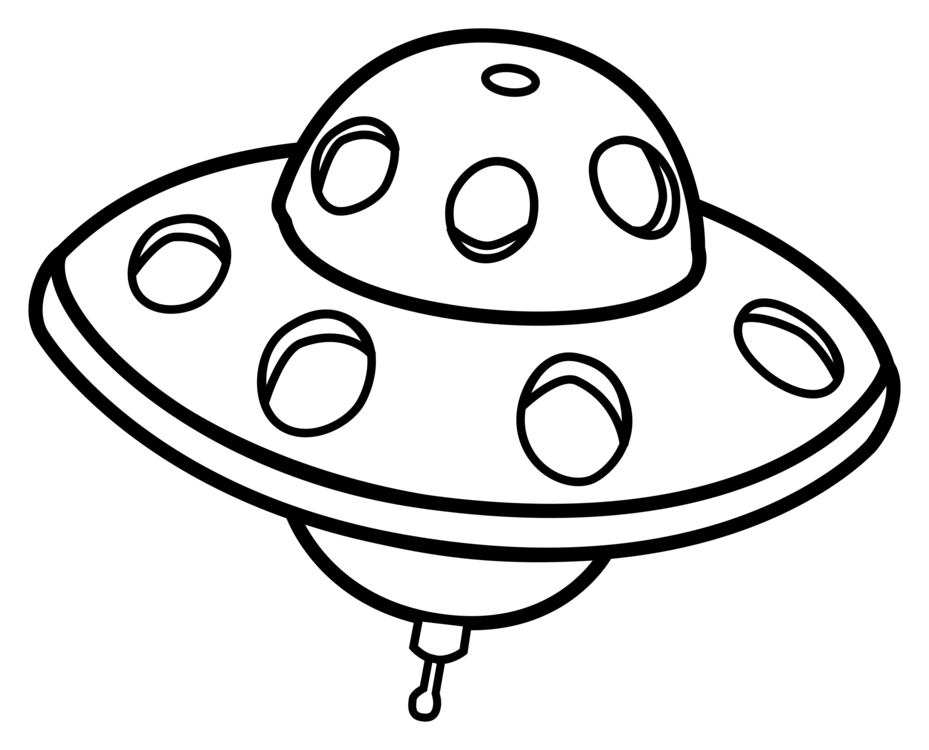 Spacecraft drawing ufo. Unidentified flying object line