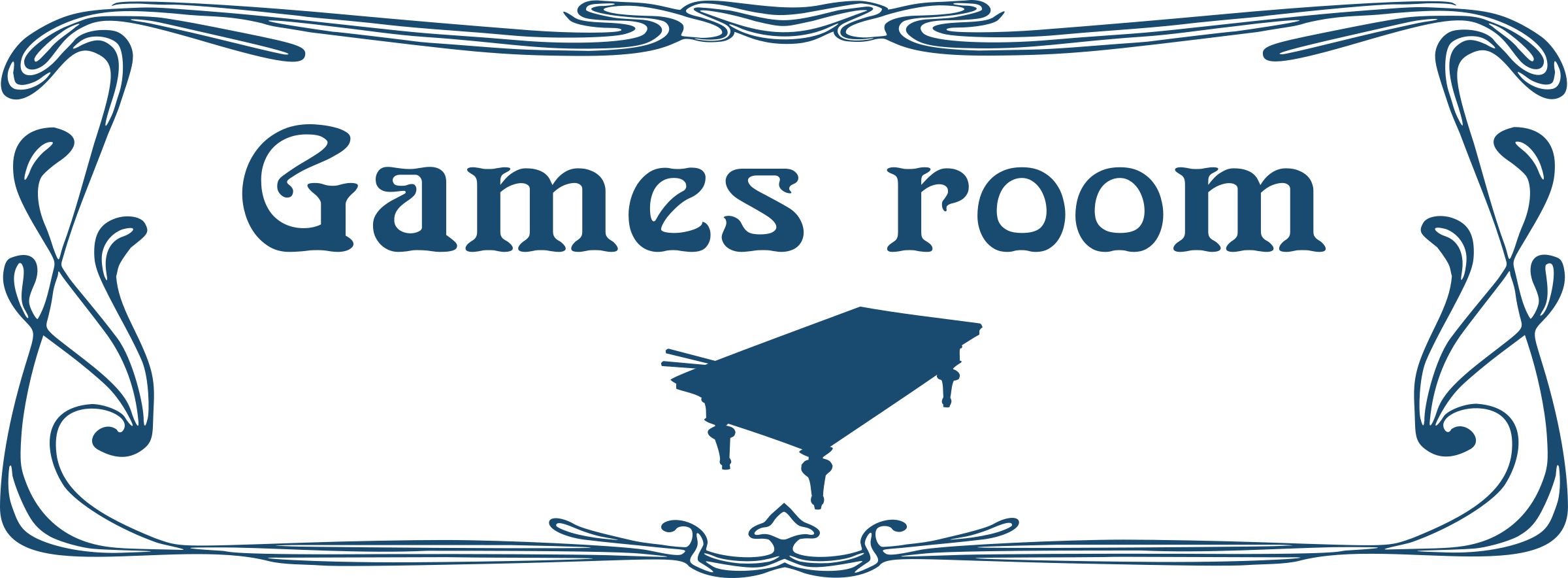 Games clipart game room. Door sign big image