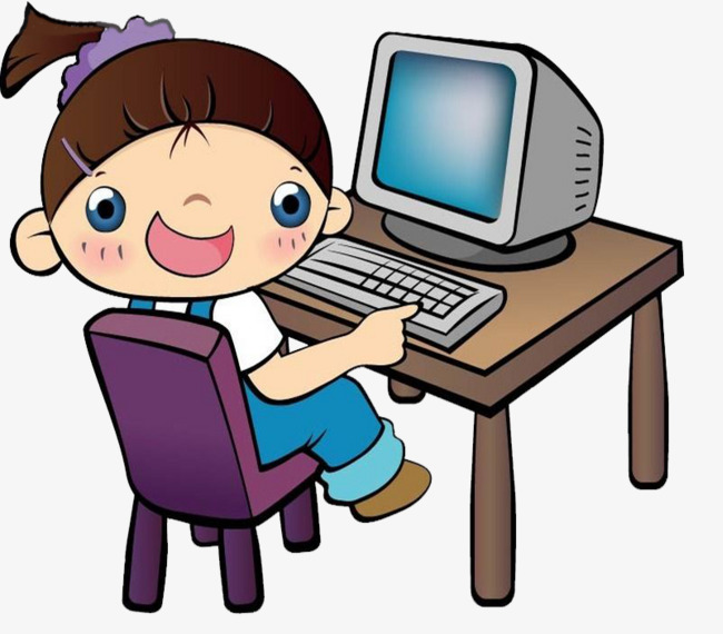 Game clipart uses computer. Children play games desk