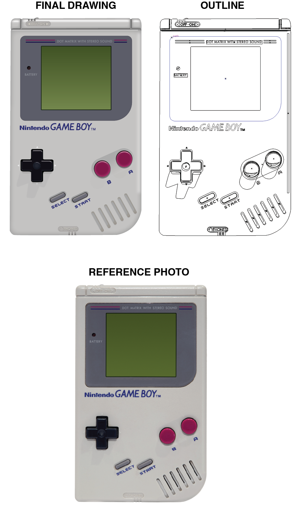 Ds drawing nintendo. Gameboy realistic vector on