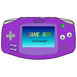 Gameboy drawing pixelated. Advance purple icon console