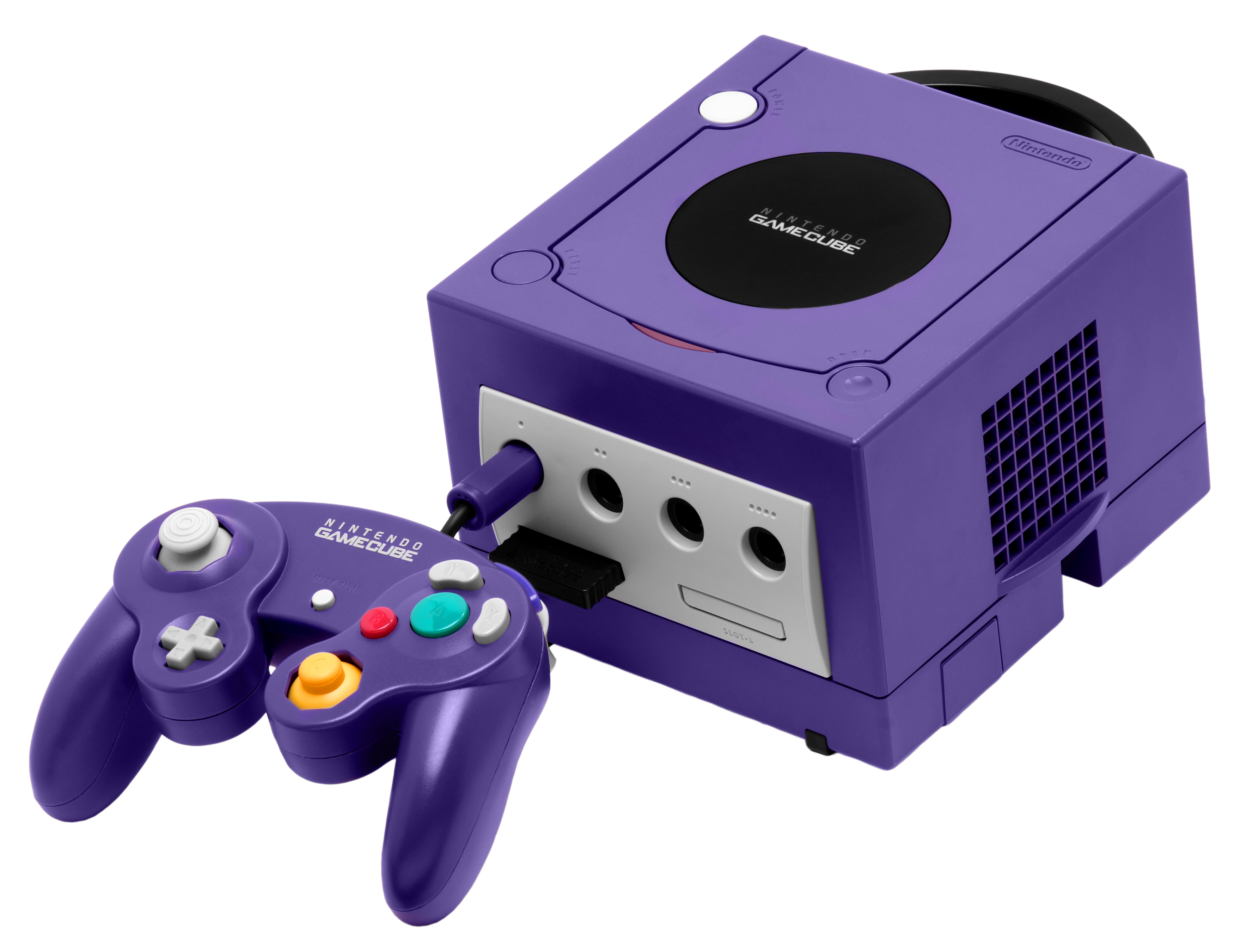 Gamecube transparent fake. Nintendo purple and controller