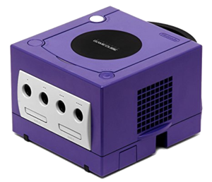 Gamecube transparent pixel. Console purple indigo warehouse