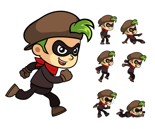 Games vector character. Nerdy girl game sprites