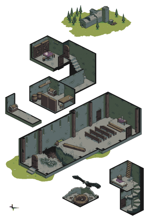 Games vector isometric. Abandoned church dungeon by