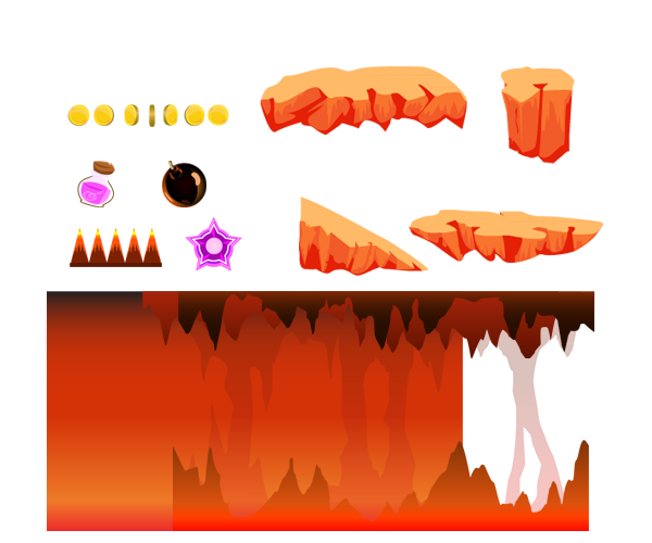 Lava vector ground. Cave background on behance