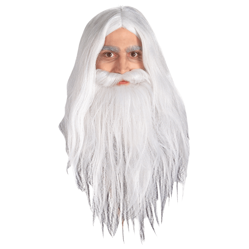 Gandalf transparent head. Childs lotr wig and