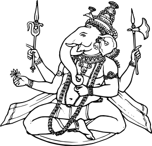 Ganesha vector black and white. Ganesh clip art at