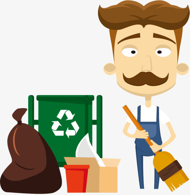 Garbage clipart sweeping. Environmental protection dustbin drop