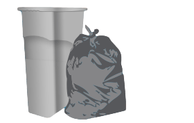 Garbage drawing carrier bag. Trash bags can liners